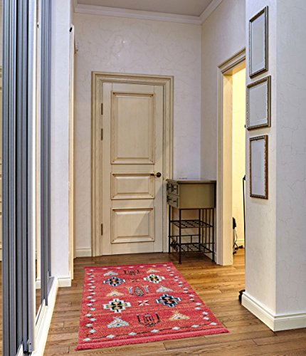 3' Twist Pull (Mod-Arte Fez Collection FZ02-10635 Brick and Multi runner rug, 3 feet by 5 feet (3' x 5'))