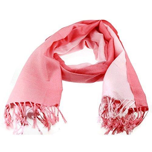 Peach Soft Pink Pashmina Designer Inspired Fashion Scarf with Graduated Stripe Light to Dark (Pink Scarf Stripe)