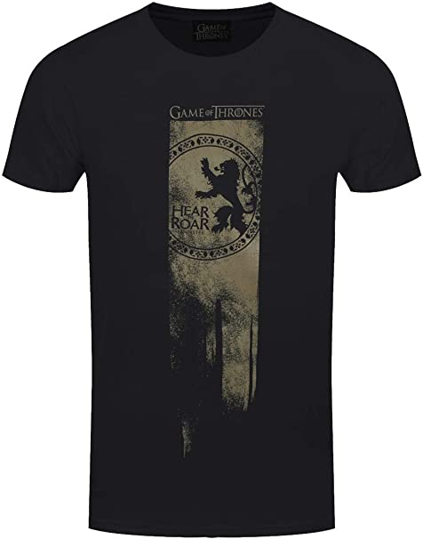 Game of Thrones T-shirt Lannister Flag Hear Me Roar Men/'s Black