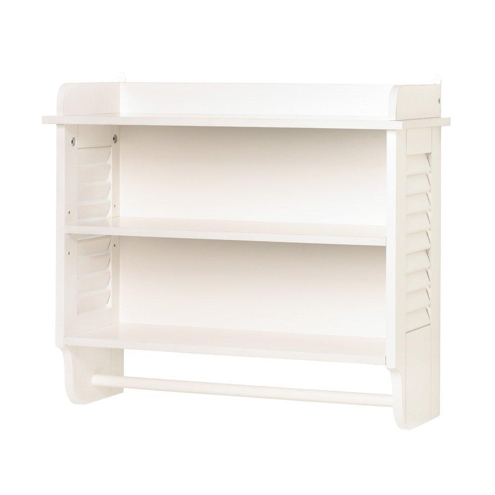 Wall Mount Bathroom White Cabinet Storage Organizer Shelf (Wooden Wall Shelf)