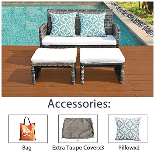 Garden and Outdoor OC Orange-Casual Outdoor Loveseat Patio Furniture Rattan Conversation Set with Ottoman, White Cushions, Grey Wicker… outdoor lounge furniture