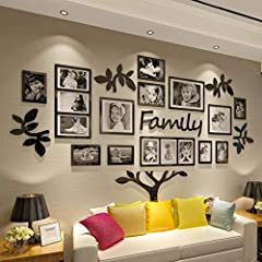CrazyDeal Family Tree Wall Decal Picture Frame Collage 3D DIY Stickers Wall Art for Living Room Gallery Large Gallery Wall Frame Set Family Tree Wall Decor This item is composed of 56 pcs acrylic stickers included adhesive.Be pasted on the wa...