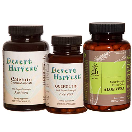 Interstitial Cystitis Starter Kit - Ideal Starter Supplements for IC/BPS. Super-Strength Aloe Vera Capsules + Calcium Glycerophosphate + Quercetin. Bladder Pain Relief, antihistamine, Acid Reducer