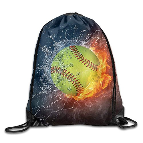 Unisex Drawstring Bags Softball Fire Water Leather Daypacks School Bags Student ()