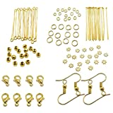 TOAOB Jewellery Making Starter Kits Gold Jump Ring Head Pins Eye Pins Earring Hook Findings