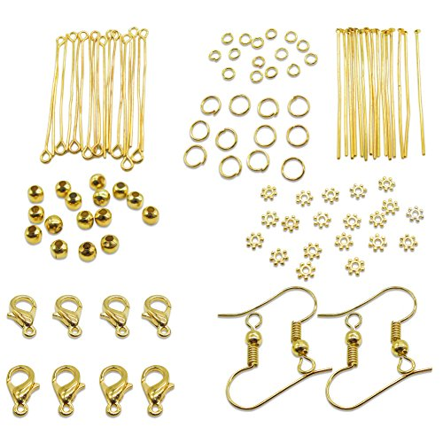 TOAOB Gold Jump Ring Head Pins Eye Pins Earring Hook Jewellery Making Starter Kit (Making Gold)