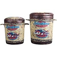 Utopia Alley Vintage Oil Can Rustic Design Storage Stools Set, Padded, Set of 2