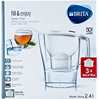 Brita fill & Enjoy su filtresi Aluna, beyaz 2,4l dahil 3x Maxtra filtre kartuşları (Startpaket) metre