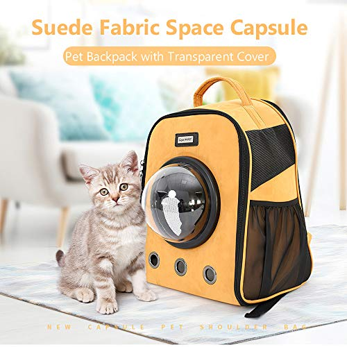 (Roloiki Pet Carrier Backpack Space Capsule Dog Carrier Suede Fabric Transparent Cover Pet Backpack for Outdoors Hiking Camping)