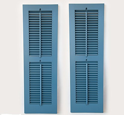 Timberlane Outdoor Cedar Shutter Pair with Operable Louvers - Painted Blue 15''W x 48''H