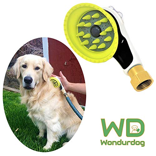 Wondurdog Quality Outdoor Dog Wash with All Metal Adapter | Garden Hose Attachment | Innovative Shower Brush w/Splash Shield | Outdoor Dog Wash | Keep Water Away from Dogs Ears, Eyes and Yourself!