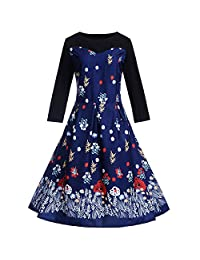 AMSKY Women Vintage Long Sleeve O Neck Halloween Evening Printing Cocktail Party Prom