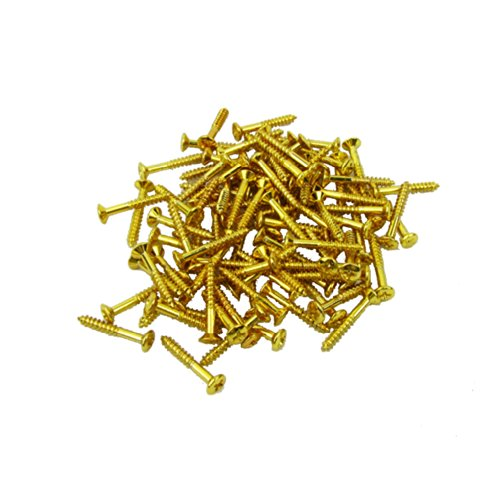 Musiclily Humbucker Pickup Frame Ring Mounting Screws for Fender Strat Tele Les Paul SG Guitar Bass Replacement, Gold (Pack of (Gold Guitar Replacement)