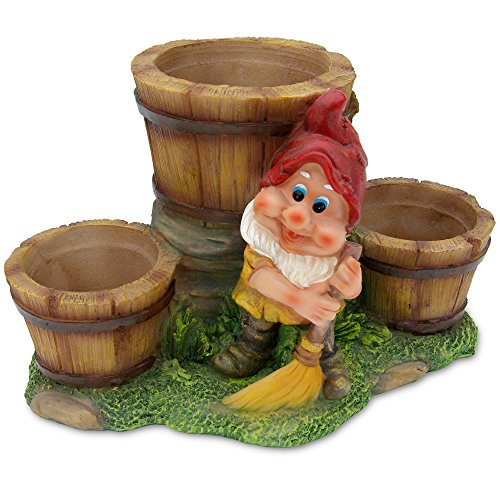 Gnome Flower Pot - 3 Pots with Sweeping Gnome ()