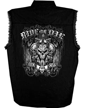 Ride or Die Skull Sleeveless Shirt (Black, XX-Large)