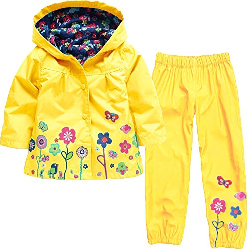 LZH Girl Baby Kid Waterproof Hooded Coat Jacket Outwear Suit Raincoat Hoodies with Pants Yellow 4T(For Age 3-4Y)