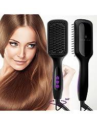 Ionic Hair Straightener Brush, GLAMFIELDS Electrical...