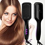 #9: Ionic Hair Straightener Brush, GLAMFIELDS Electrical Heated Irons Hair Straightening with Faster Heating, MCH Ceramic Technology, Auto Temperature Lock, Anti Scald, Heat Resistant Glove (Black-01)