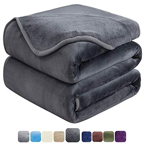 HOZY Soft Queen Size Summer Blanket All Season Warm Fuzzy Microplush Lightweight Thermal Fleece Blankets for Couch Bed Sofa,90x90 Inches,Dark Gray