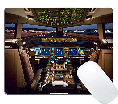Wknoon Cute Gaming Mouse Pad Custom Design, Boeing 777 Airplane Cockpit Mousepad - Cockpit Custom