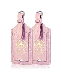 [2 Pack] Luggage Tags, ACcolor Leather Case Luggage Bag Tags Travel Tags, Rose Gold