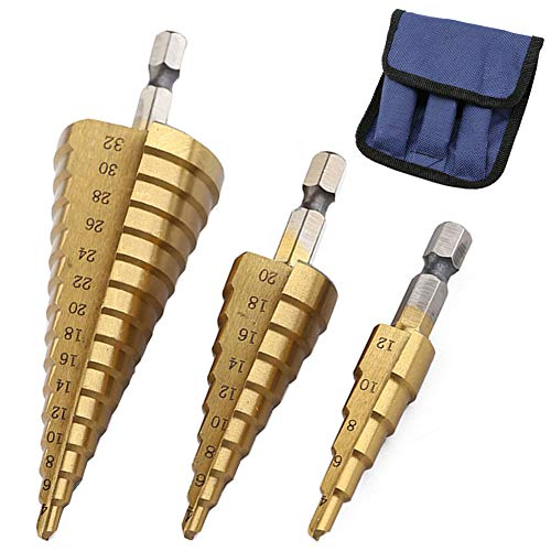 (3Pcs High-Speed Steel Step Drill Bit Set, LepoHome Cone Titanium Coated Metal Hole Cutter 1/4
