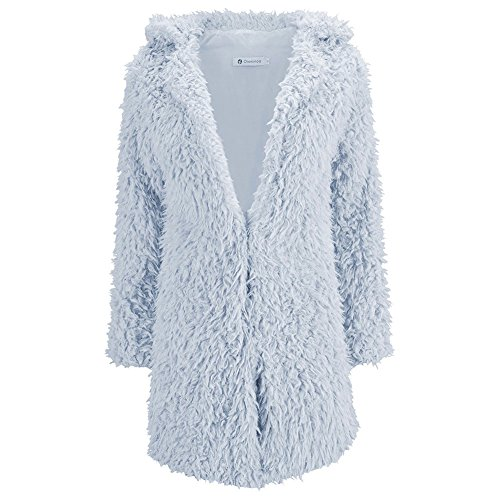 Sunsent Women Lamb's Wool Long-sleeved Lapel Midi Shaggy Outerwear Coat