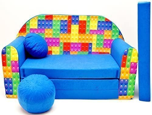 Sofá Cama para niños, C32, con puf, Taburete y Almohada, de Tela, Multicolor, 168x 98x 60cm