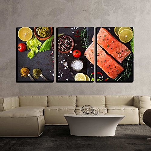 Raw Salmon Fillet and Ingredients for Cooking on a Dark Background in a Rustic Style x3 Panels