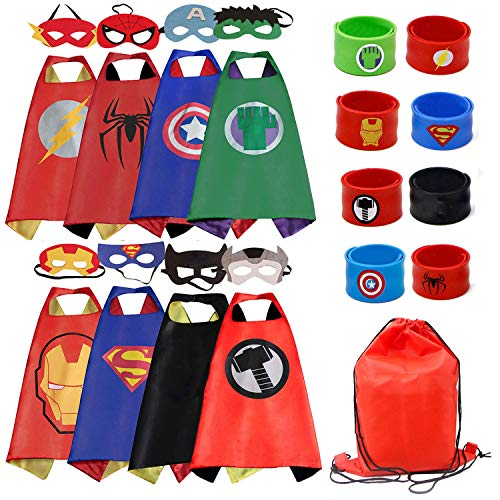 COTATERO Dress up Costume Superhero Cape and Mask Set with Drawstring Backpack for Kids, Birthday Party Children ()