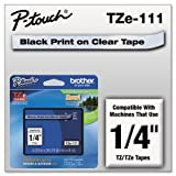 Brother 1/4 Inch Laminated Black On Clear Tape 1/Pkg 26.2 Ft For Tz P-Touch All Tz Machines