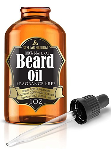 Stellar Naturals Beard Oil and Conditioner, Pure and Natural Unscented for Groomed Beard Growth, Mustache, Face and Skin, 1fl oz/30ml