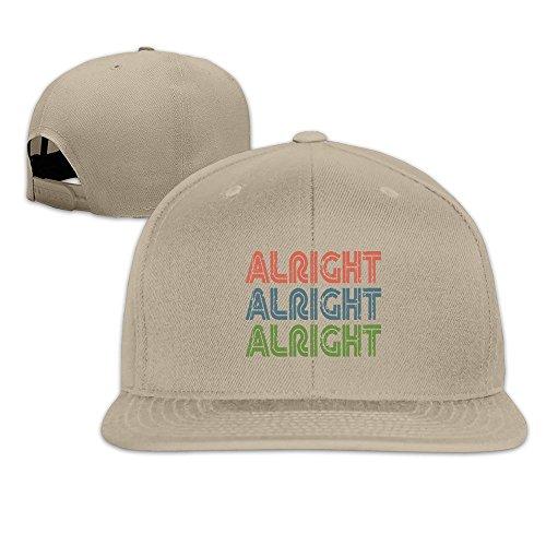 Runy Custom Alright Alright Alright Adjustable Baseball Hat & Cap Natural