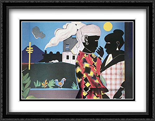 The Conversation 2X Matted 26x34 Large Black Ornate Framed Art Print by Romare Bearden