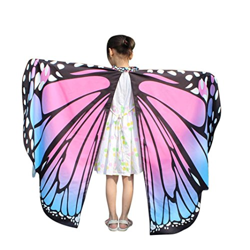VESNIBA Kid Baby Girl Soft Fabric Butterfly Wings Shawl Scarves Nymph Pixie Poncho Costume Accessory (136x108CM, Pink) - Costume Homme Marque