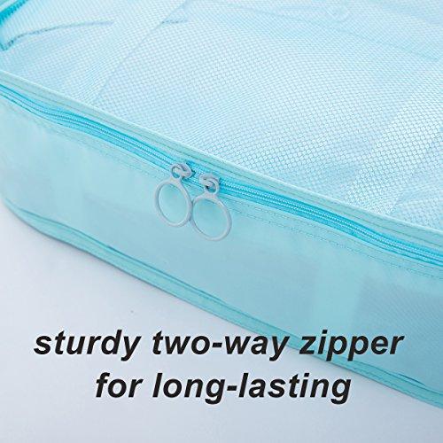 8 pcs Large Packing Cubes Travel Luggage Organizer Set With Shoe Bag (turquoise) by VEETON (Image #5)