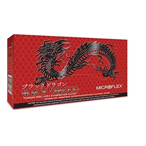 Microflex Black Dragon Powder-Free Latex Gloves, Small, Box of 100