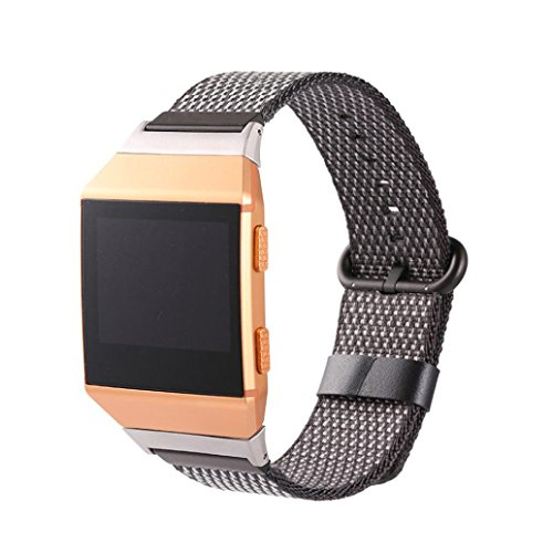 Ximandi for Fitbit Ionic, Soft and Breathable Woven Nylon Bracelet Strap Band (Black, 240mm)
