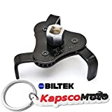 Biltek NEW Two Way Oil Filter Wrench Tool Drive 3 Jaw Remover 63-102mm Tool Cars Trucks + KapscoMoto Keychain