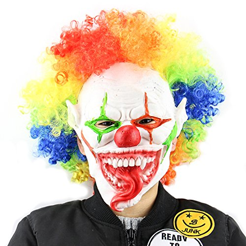 QTMY Latex Rubber Clowns Joker Mask with Multicolour Hair for Halloween Party Costume for $<!--$19.99-->