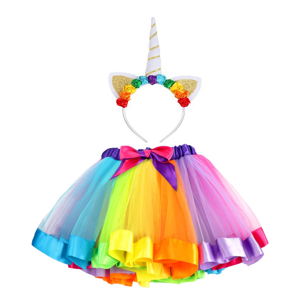 5dc5385af140 Vamei Rainbow Ribbon Tutu Gonna per bambine Costume da balletto Foto con  Unicorn Flower Fascia per