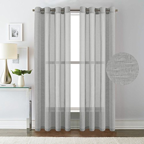 H.Versailtex Elegant Natural Linen Sheer Curtains for Bedroom,Privacy Protection Nickel Grommet Window Panels / Drapes ( Set of 2,52x84-Inch,Dove Gray)