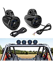 """KEMIMOTO UTV RZR Marine Boat Bluetooth Tower Speakers Compatible with Polaris RZR 800 900 1000 Can Am Kawasaki Teryx Buggy Waterproof Wireless Roll Bar Speaker UTV Stereo System 1.65"""" - 2"""" Roll Cage"""
