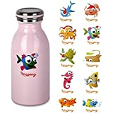 Housavvy Kids Vacuum Bottle 12 Oz w/ Sticker Decal - Pink