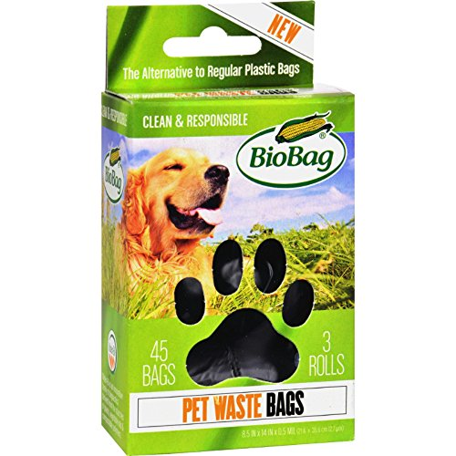 BioBag Dog / Pet Waste Bags on a Roll 45 Bags Each Box (Case of 12) Total 540 Bags