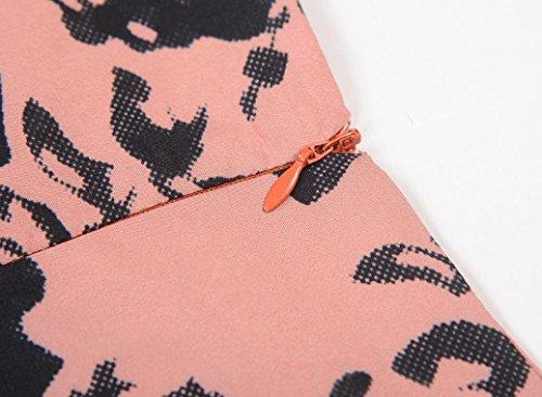 d8713087ff8054 ... Janly Vintage Floral Schleife Kleider für Frau Elegantes Party Ball Swing  Kleid Midi Tunika Plissee Plus ...