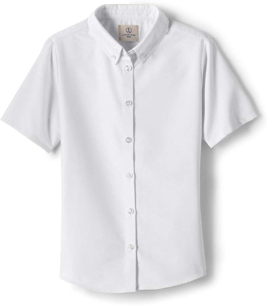 Lands' End School Uniform Little Girls Short Sleeve Oxford Dress Shirt: Clothing