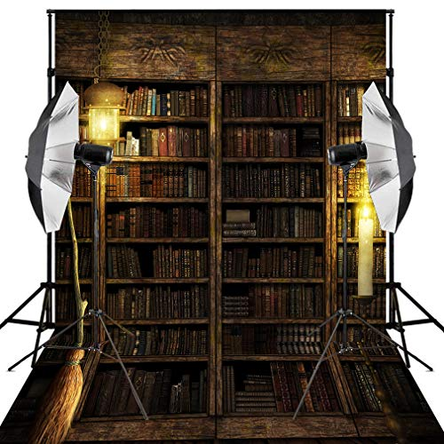Kooer 6x9ft Halloween Bookshelf Backdrop Bookcase Photo Background Themed Decor Decoration Studio (6x9ft, Halloween Backdrop 4) for $<!--$36.99-->