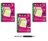 7 ring binder inserts - Avery Mini Binder Pockets, Fits 3-Ring and 7-Ring Binders, Assorted, Pack of 5 (75307) (3-Pack Bundle, Assorted) - Bundle Includes Plexon Ballpoint Pen