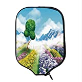 YOLIYANA Nature Decor Durable Racket Cover,Print Cartoon Like Scenery of Flowers Trees Gardens and Mountains Artwork for Sandbeach,One Size